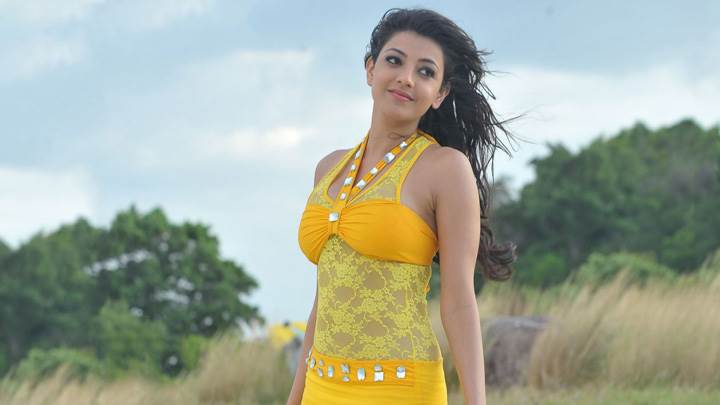 Kajal Aggarwal Smiling In Yellow Dress