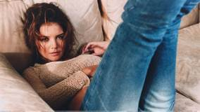 Katie Holmes Laying In Top N Jeans At Tony Duran Photoshoot
