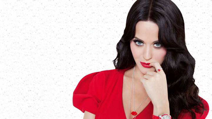 Katy Perry Looking At Camera In Red Dress N Red Lips
