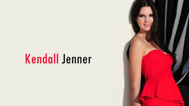Kendall Jenner Standing With Wall In Red Dress