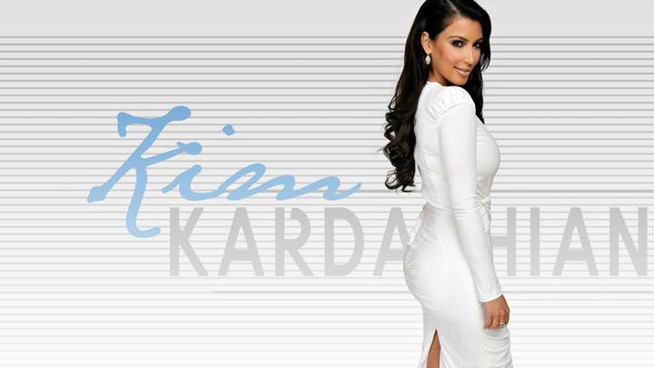 Kim Kardashian Side Pose In White Dress