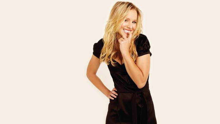 Kristen Bell Naughty Pose In Black Dress N White Background