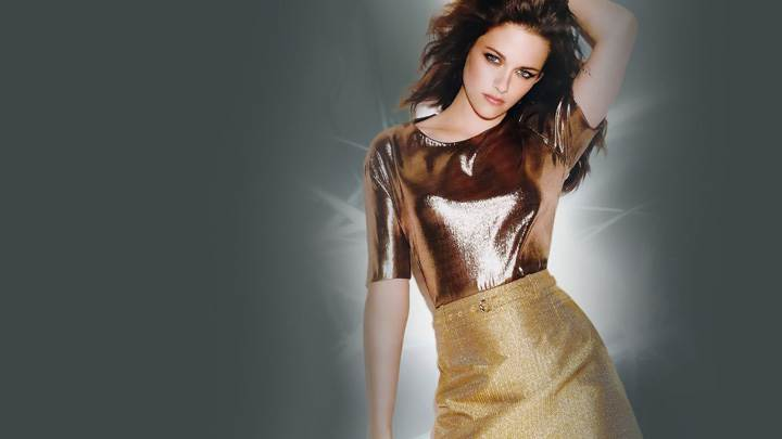 Kristen Stewart Modeling Pose In Golden Dress
