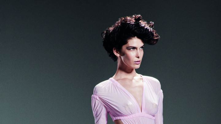 Kristina Salinovic In Pink Dress Hairstyle By Tim Barber