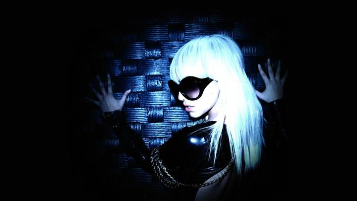 Lady Gaga In Black Goggles N White Hairs N Black Background