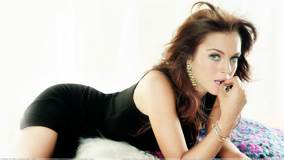 Lindsay Lohan Pink Lips In Black Dress Laying Pose Photoshoot
