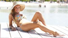 Maria Fowler Sexy Laying Pose At Bikini Candids in Antigua