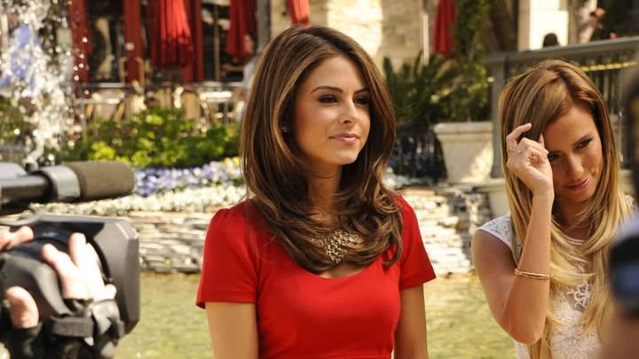 Maria Menounos In Red Dress At Extra at The Grove in LA