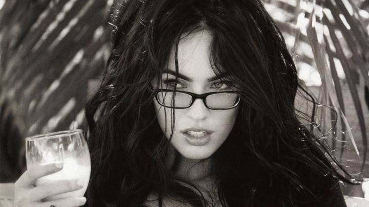 Megan Fox Black N White Drinking Glass In Hand