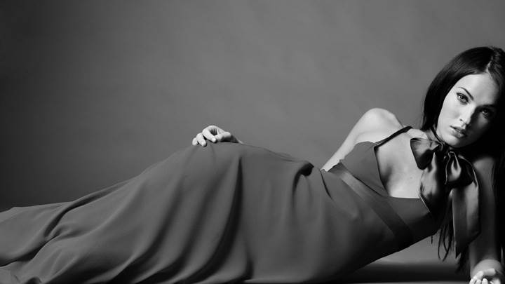 Megan Fox Black N White Laying Pose In Long Dress