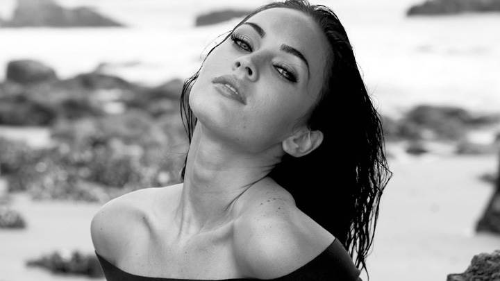 Megan Fox Black N White Near Sea Side Photoshoot