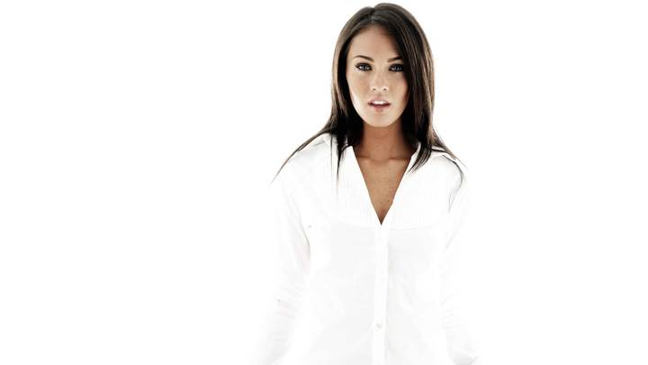Megan Fox In White Shirt N White Background
