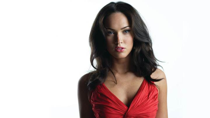 Megan Fox Looking At Camera In Red Top N White Background
