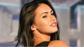 Megan Fox Looking Back Glossy Pink Lips Side Face Closeup