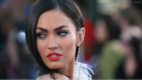 Megan Fox Looking Back red Lips Face Closeup
