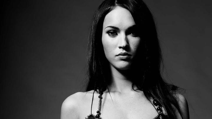 Megan Fox looking Front Black N White Pose