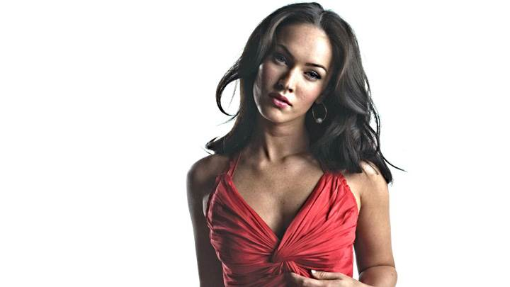 Megan Fox Looking Front Innocent Face In Red Dress