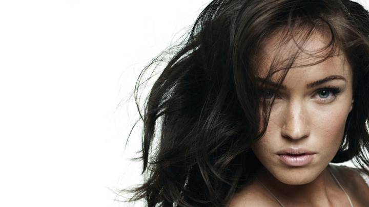 Megan Fox Looking Front N Black Hairs Face Closeup