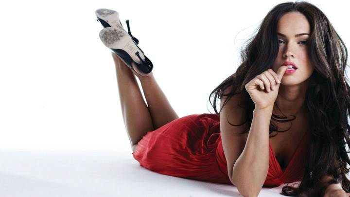 Megan Fox Naughty Laying Pose In Red Dress