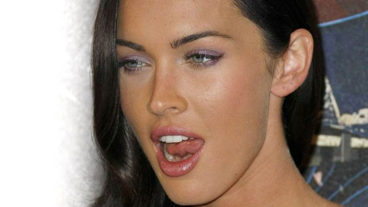 Megan Fox Shiny Eyes Make Up N Shiny Lips Face Closeup