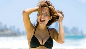 Myleene Klass Photoshoot On the Beach Open Mouth