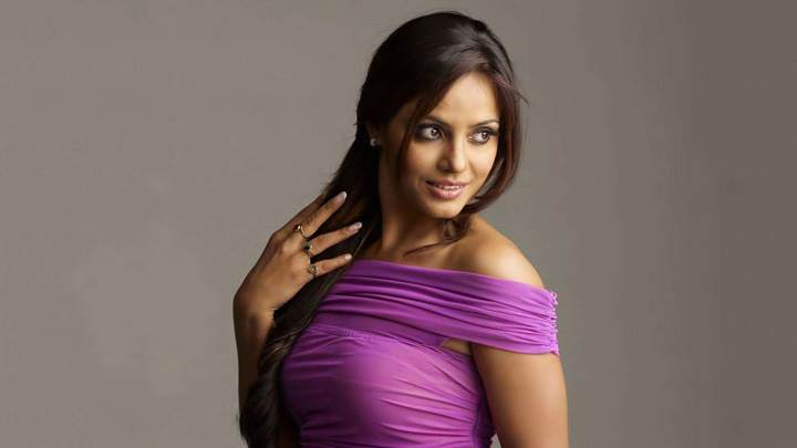 Neetu Chandra Side Pose In Purple Dress Photoshoot