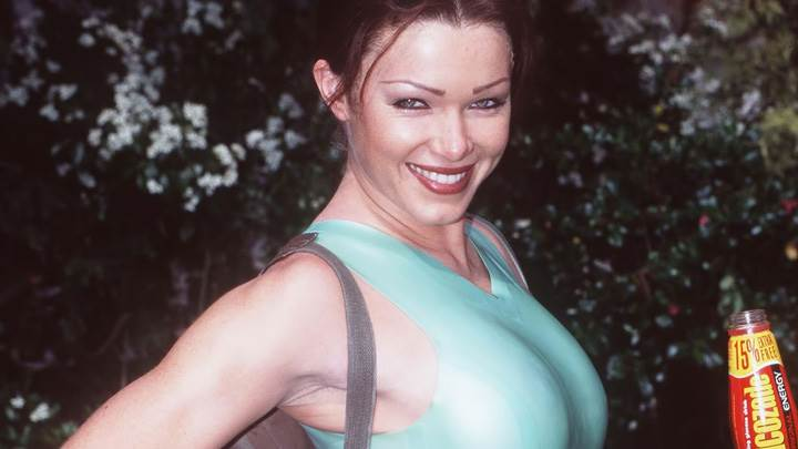 Nell McAndrew as Lara Croft Side Pose At Tomb Raider Promos