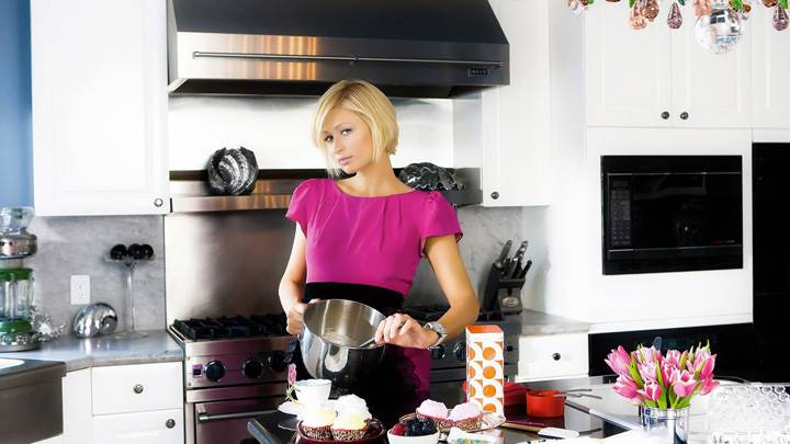 Paris Hilton In Pink Top In Kitchen