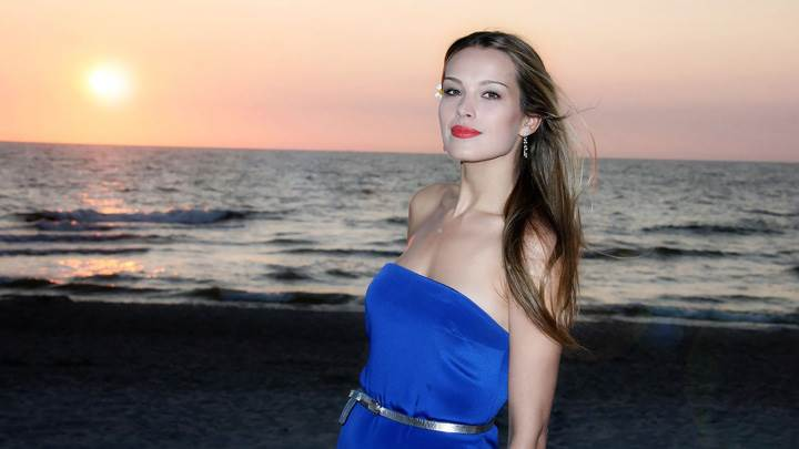 Petra Nemcova Near Sea Side in Blue Dress