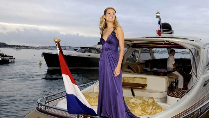 Petra Nemcova Smiling In Long Blue Dress In Ship