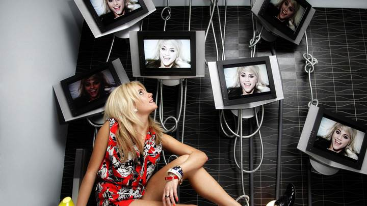Pixie Lott Sitting Looking Up Photoshoot