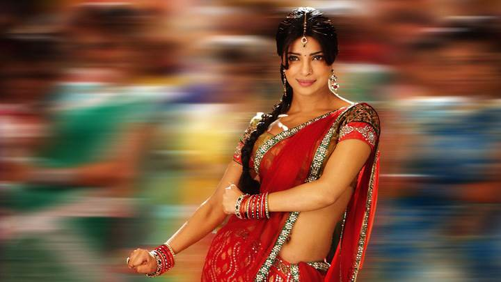 Priyanka Chopra Smiling In Red Saree