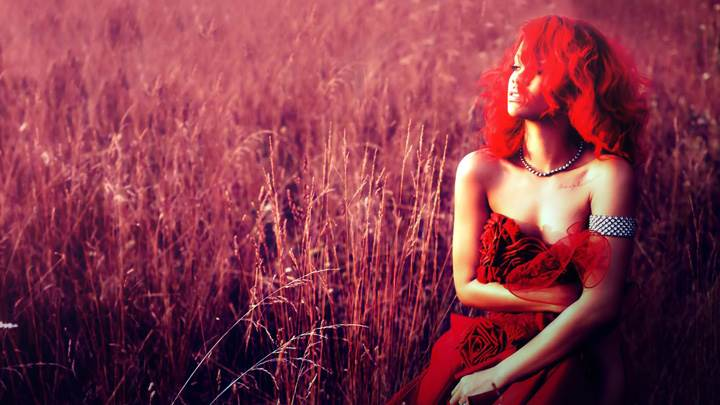 Rihanna In Red Dress N Hairs In Field