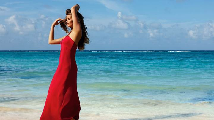 Robyn Lawley In Red Long Dress At Calzedonia Spring-Summer 2012