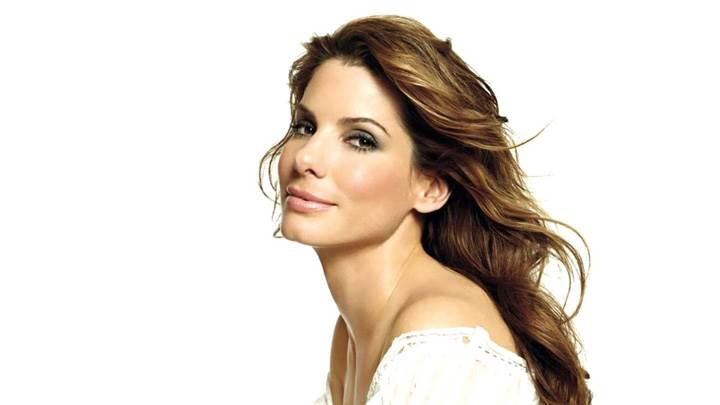 Sandra Bullock Side Pose In White Top N White Background