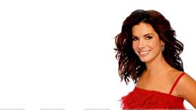 Sandra Bullock Smiling in Red Dress N White Background