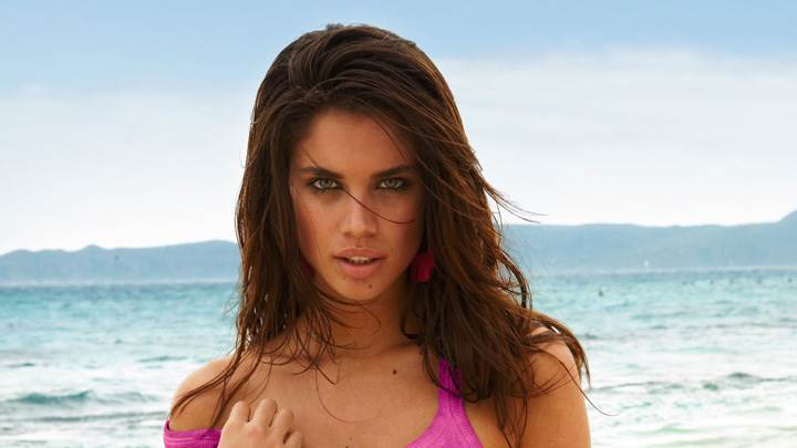 Sara Sampaio In Pink Top At Calzedonia Spring-Summer 2012