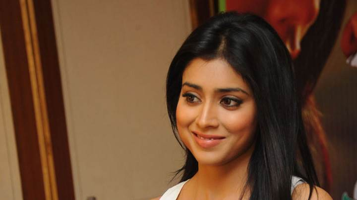 Shriya Saran Sitting Pose At Nuvva Nena Press Meet