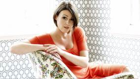 Suranne Jones In Orange Dress At Mike Owen Photoshoot
