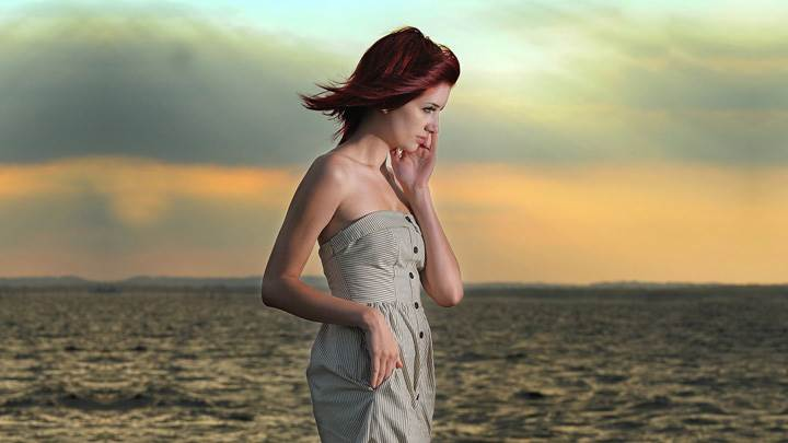 Susan Coffey Near Sea Side At Sunset Time Side Pose