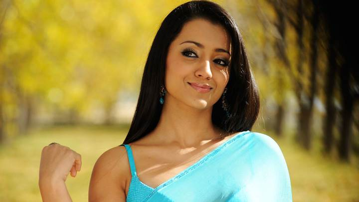 Trisha Krishnan In Blue Saree In Bodyguard