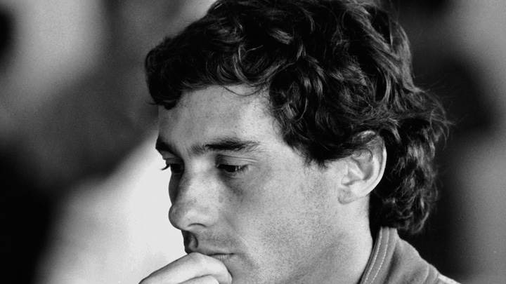 Ayrton Senna Side Pose In Black And White Picture