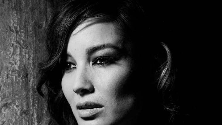 Berenice Marlohe Lookig Side Black N White Face Closeup