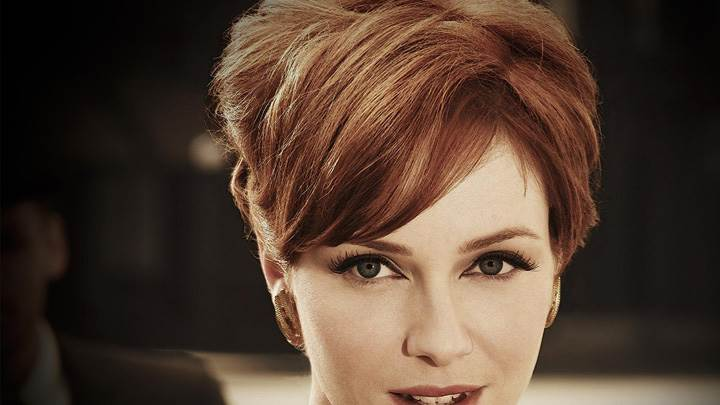 Cute Christina Hendricks Smiling Face Closeup