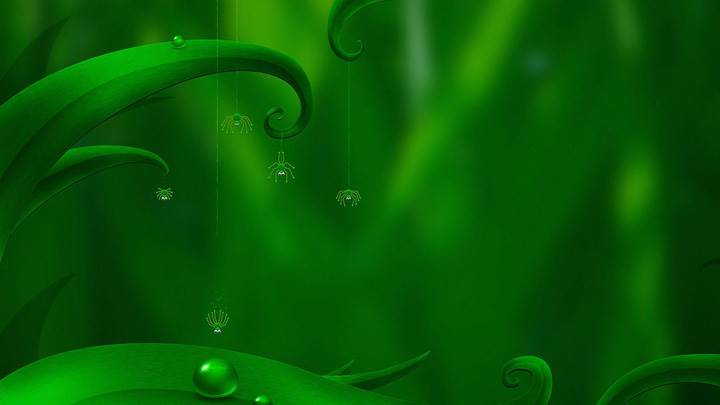 Spider Diving Artistic Green Wallpaper