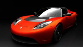 Tesla Roadster Sports Car Orange