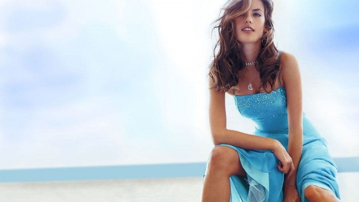 Alessandra Ambrosio Sitting In Blue Gown