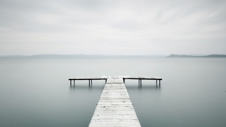 Beautiful Dock On A Misty Lake