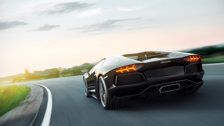 Black Lamborghini Aventador Back Look