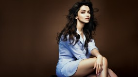 Deepika Padukone Siiting In Sky Blue Kurta